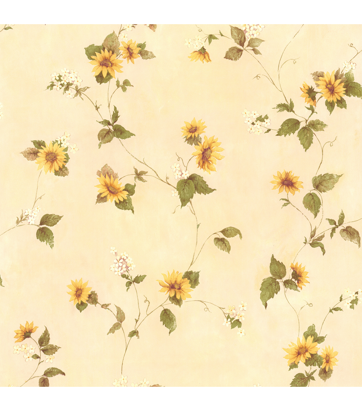 August Yellow Floral Trail Wallpaper Sample
