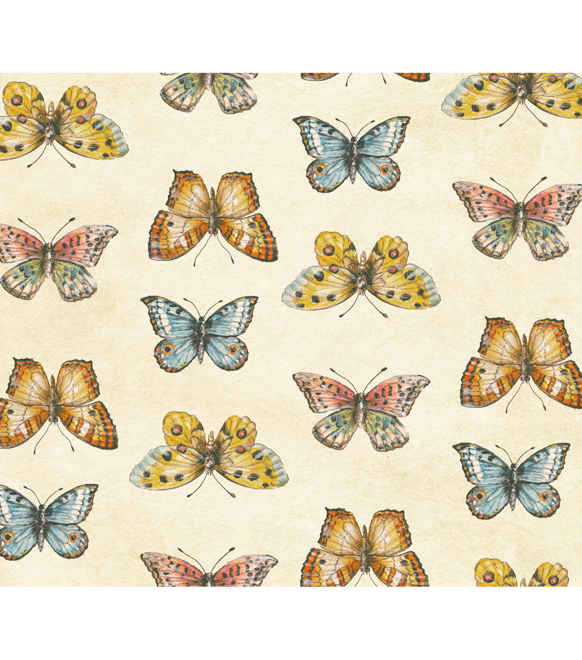 Anti-Pill Fleece Fabric 58\u0022-Butterflies On Cream