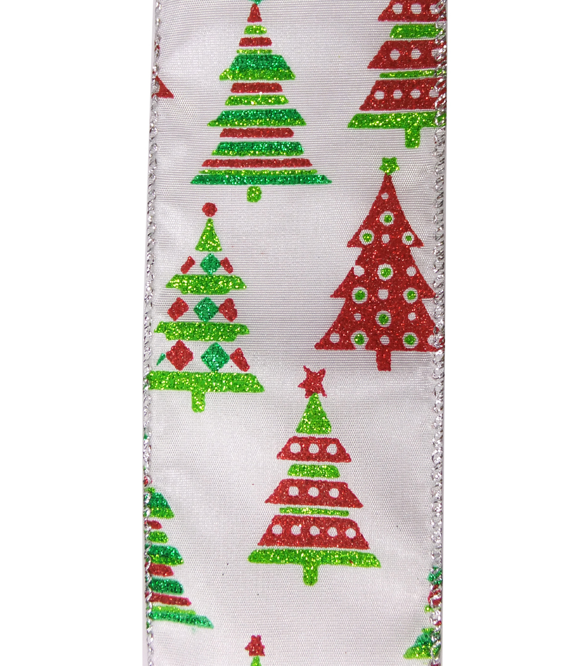 Maker\u0027s Holiday Christmas Ribbon 2.5\u0027\u0027x25\u0027-Geometric Trees on White