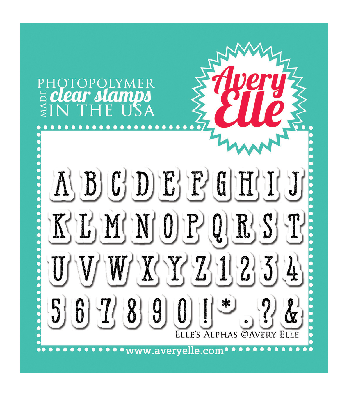 Avery Elle Clear Stamp Set 2\u0022X3\u0022-Elle\u0027s Alpha\u0027s