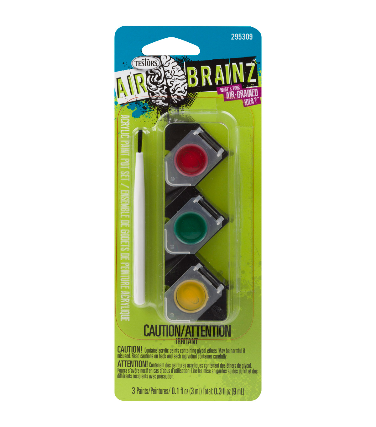 AirBrainz Acrylic Paint Pot Set-Red Green Yellow