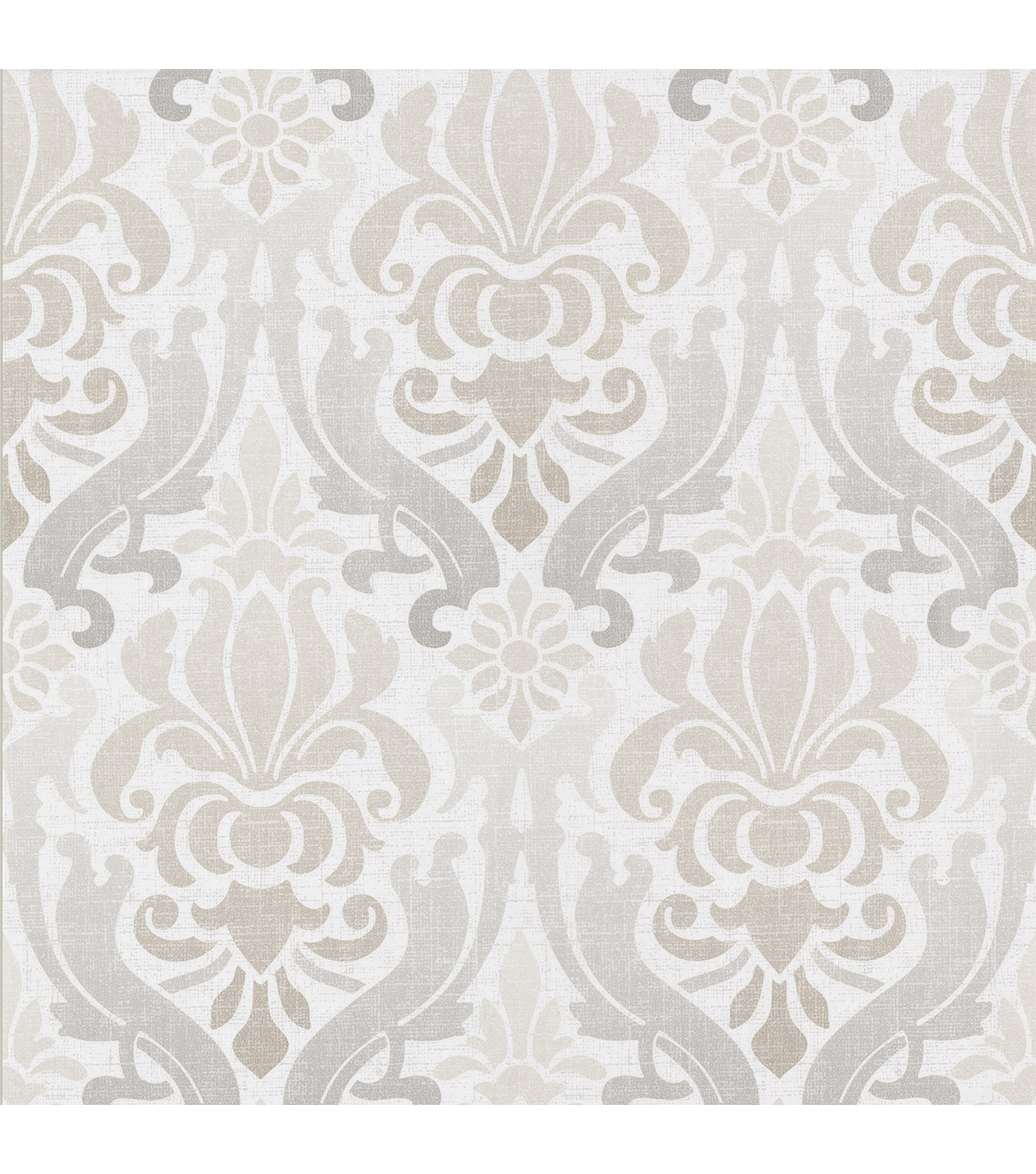 Aquitaine Light Grey Nouveau Damask  Wallpaper Sample
