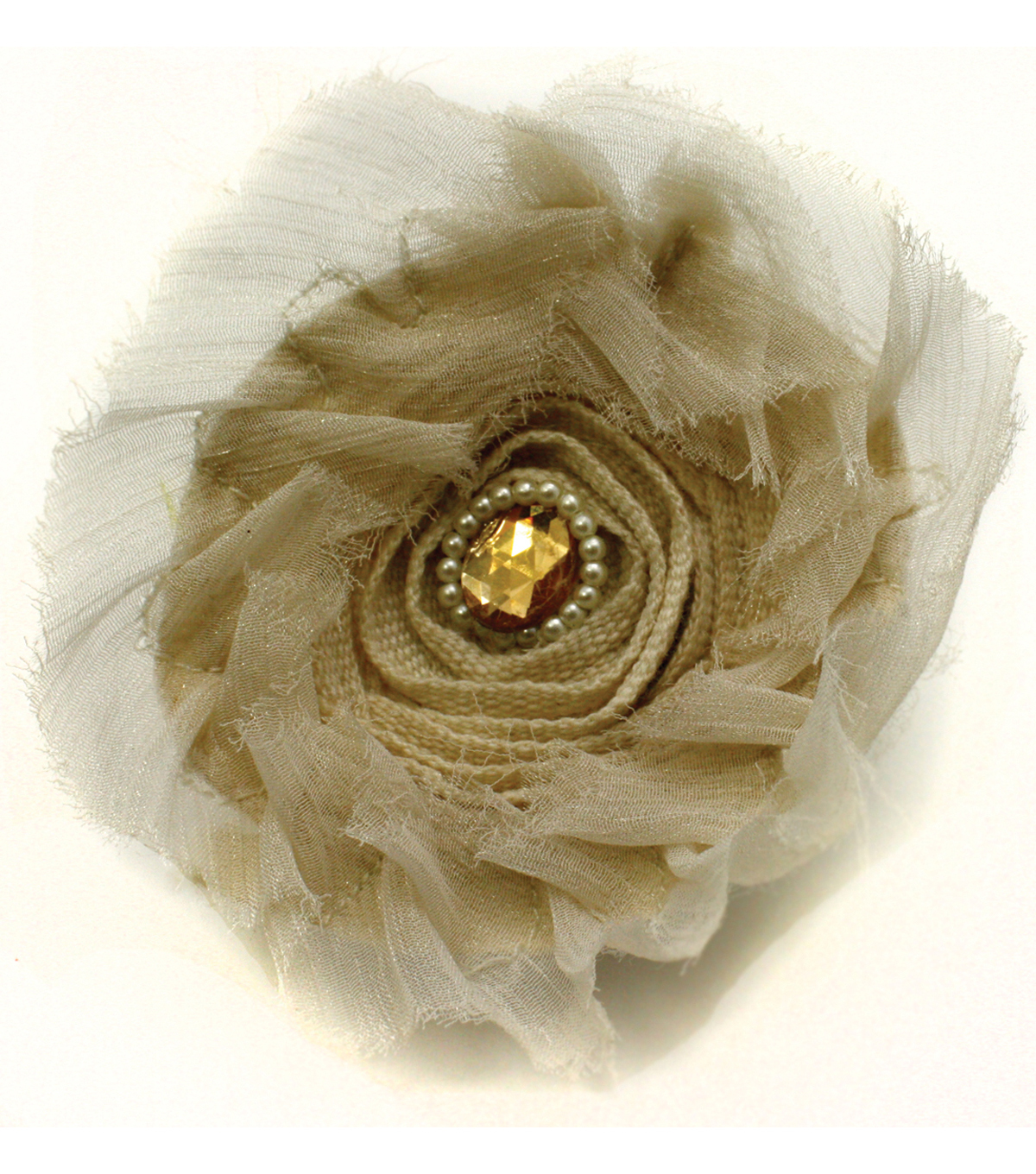 Laliberi Round Burlap Flower with Pearls and Stone