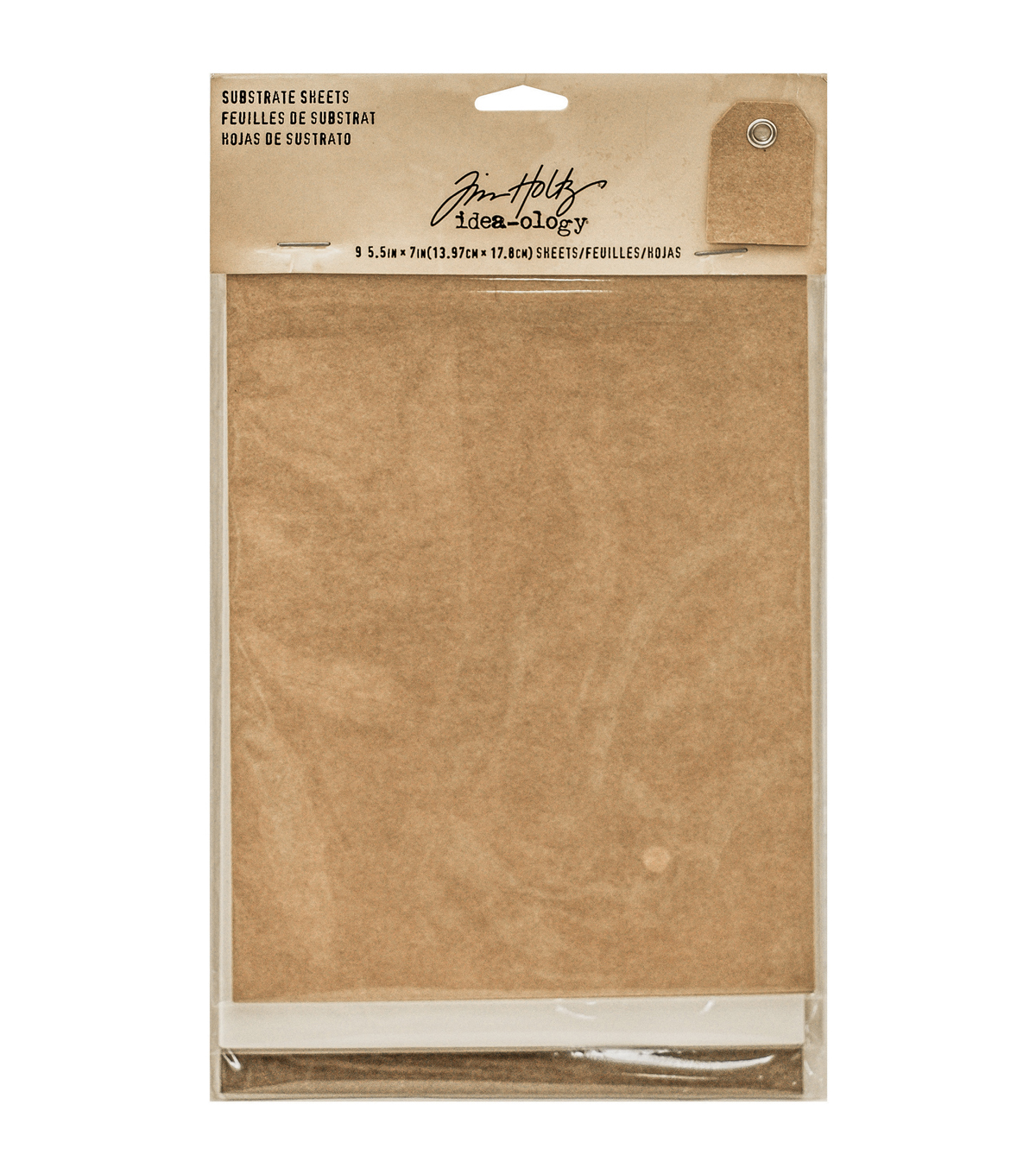 Tim Holtz Idea-Ology Substrate Sheets 5.5\u0022X7\u0022 9/Pkg-3 Each Of 3 Colors; Kraft, White & Brown