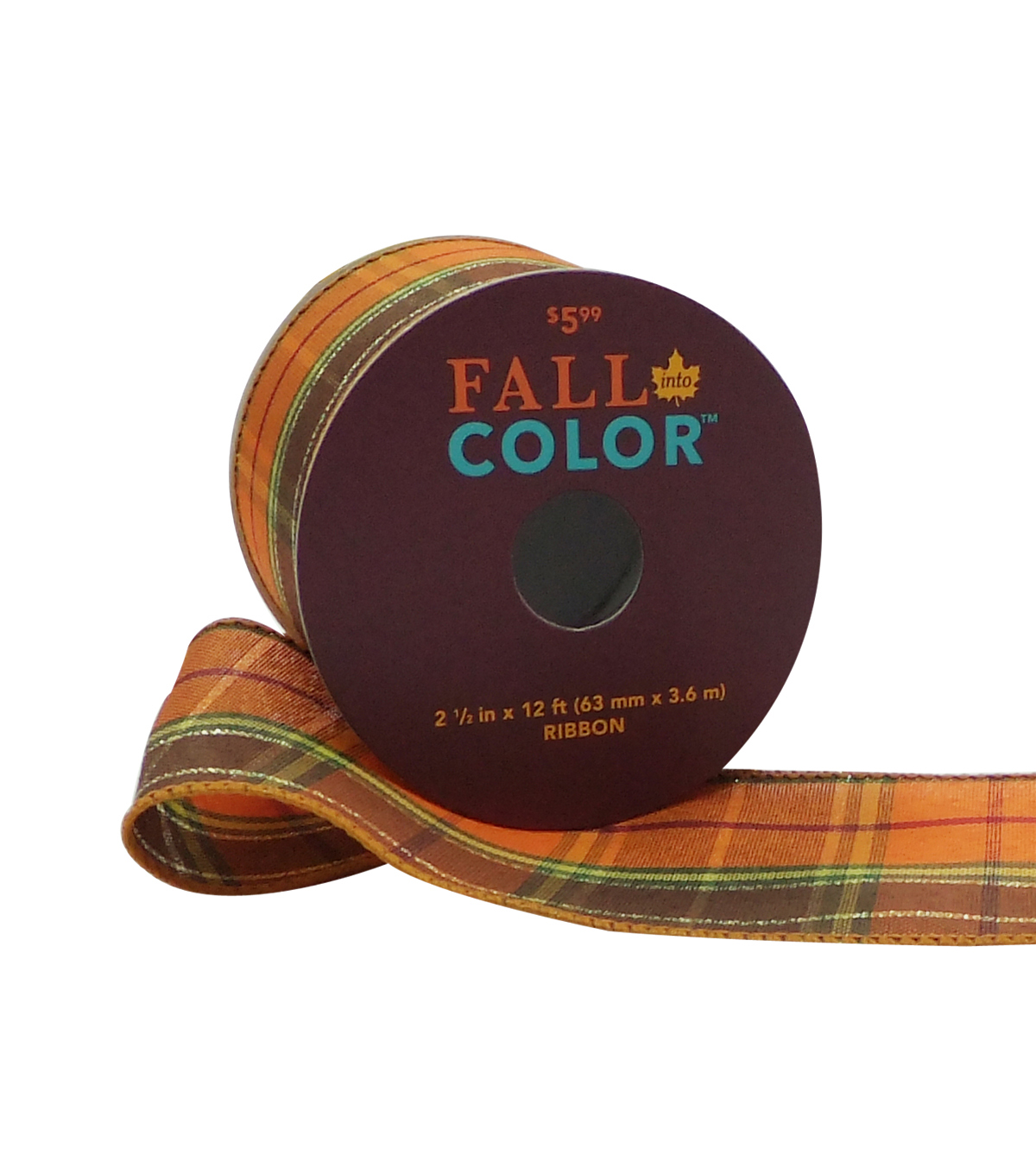 Fall Into Color Ribbon 2.5''x12'-Orange, Brown & Green Plaid