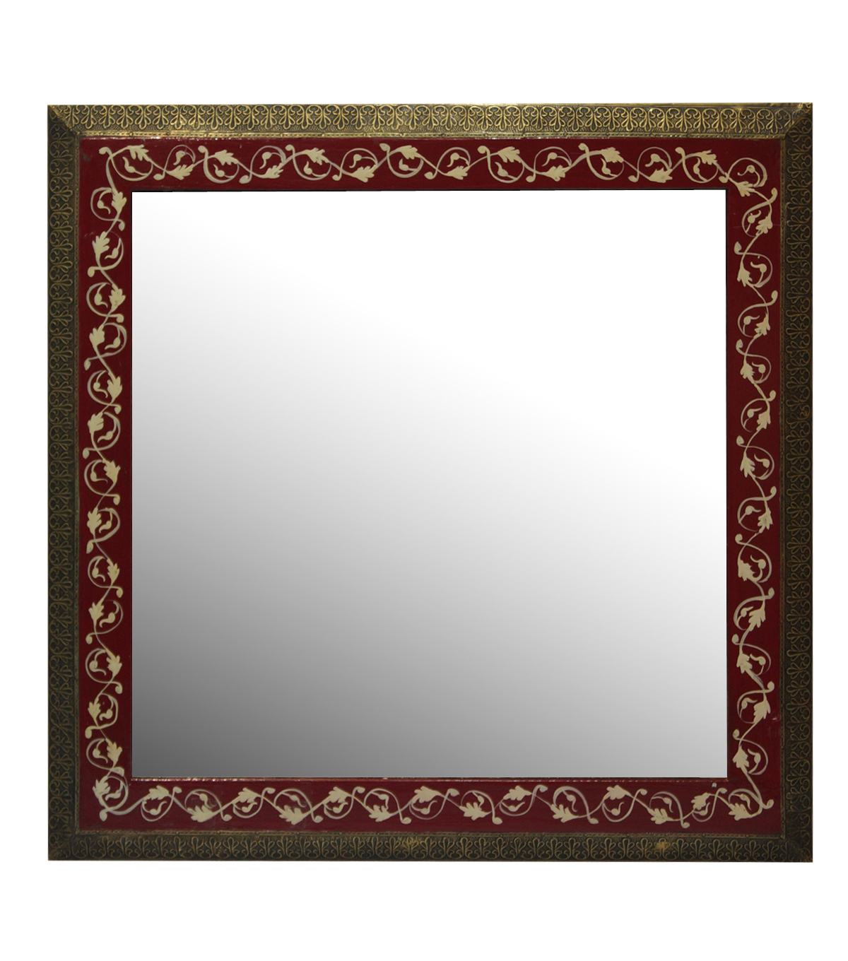 Idea Market Hand-Done Hand Painted Wooden Mirror-Red