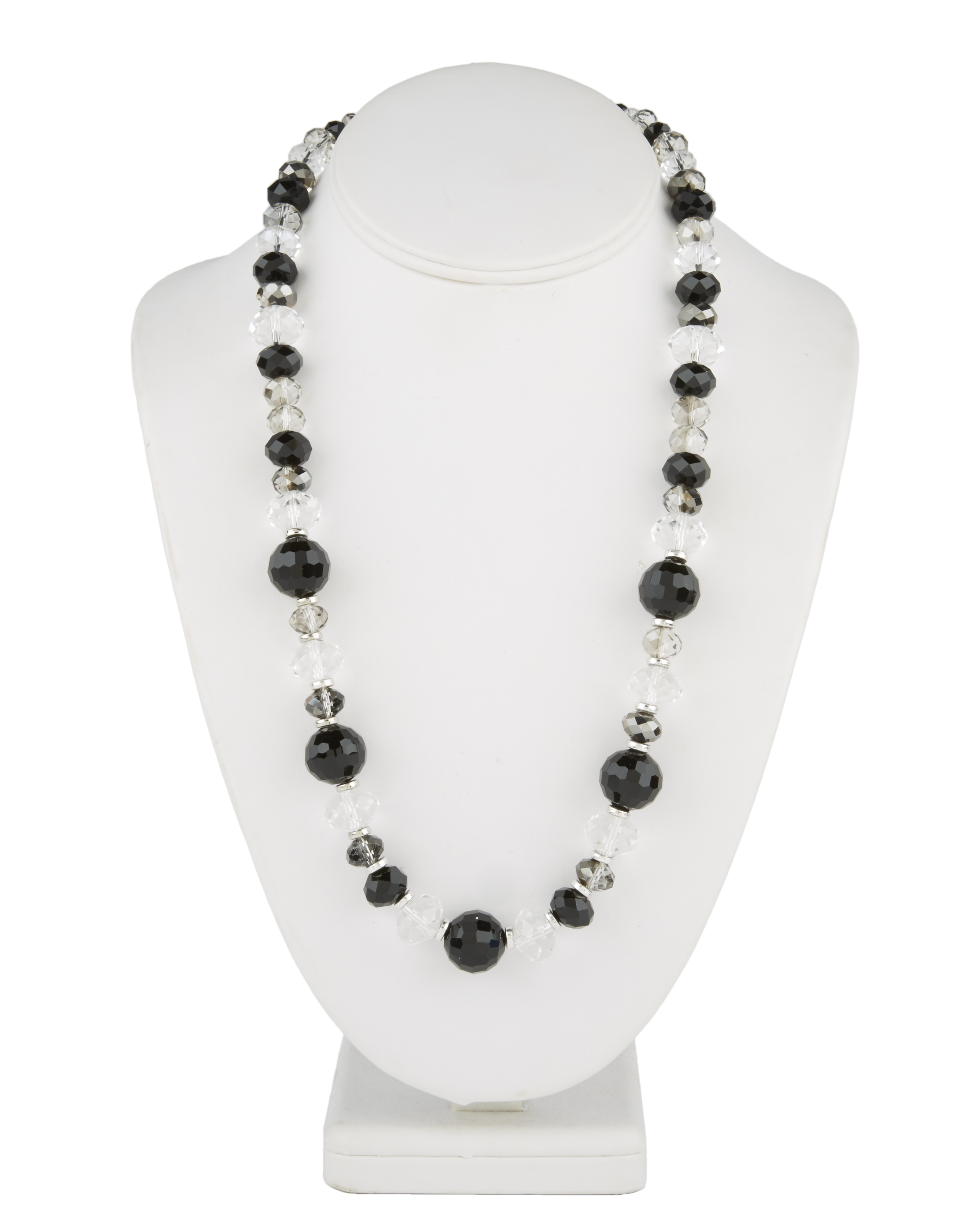 Short Multi Necklace Jet Crystal