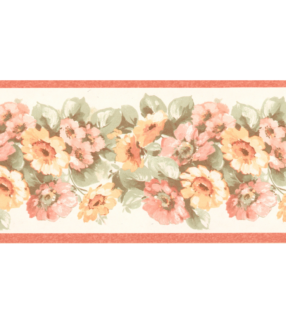 Maryanne Peach Floral Garden Wallpaper Border Sample