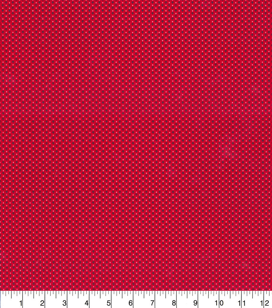 Patriotic Cotton Fabric-Star Dot On Red