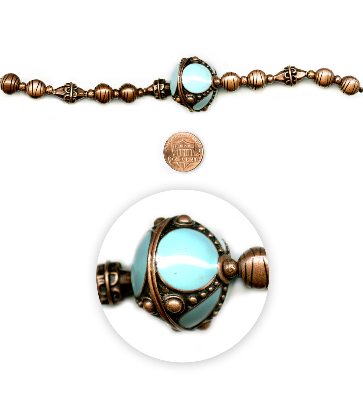 Blue Moon Beads 7\u0022 Strand, Copper Beads with Large Blue Enamel Focal