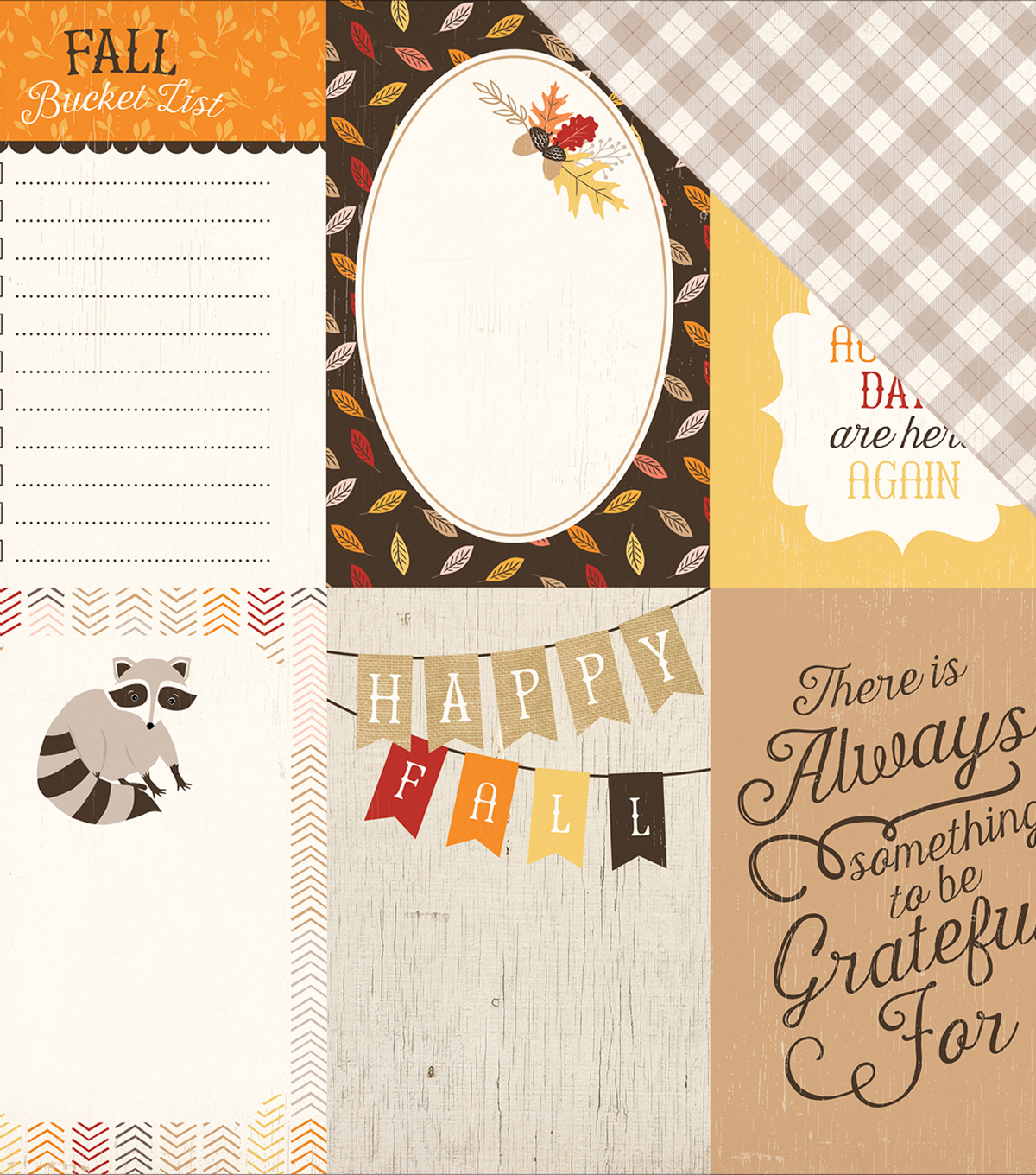 "Hello Fall Double-Sided Cardstock 12""X12""-4""X6"" Journaling Cards"