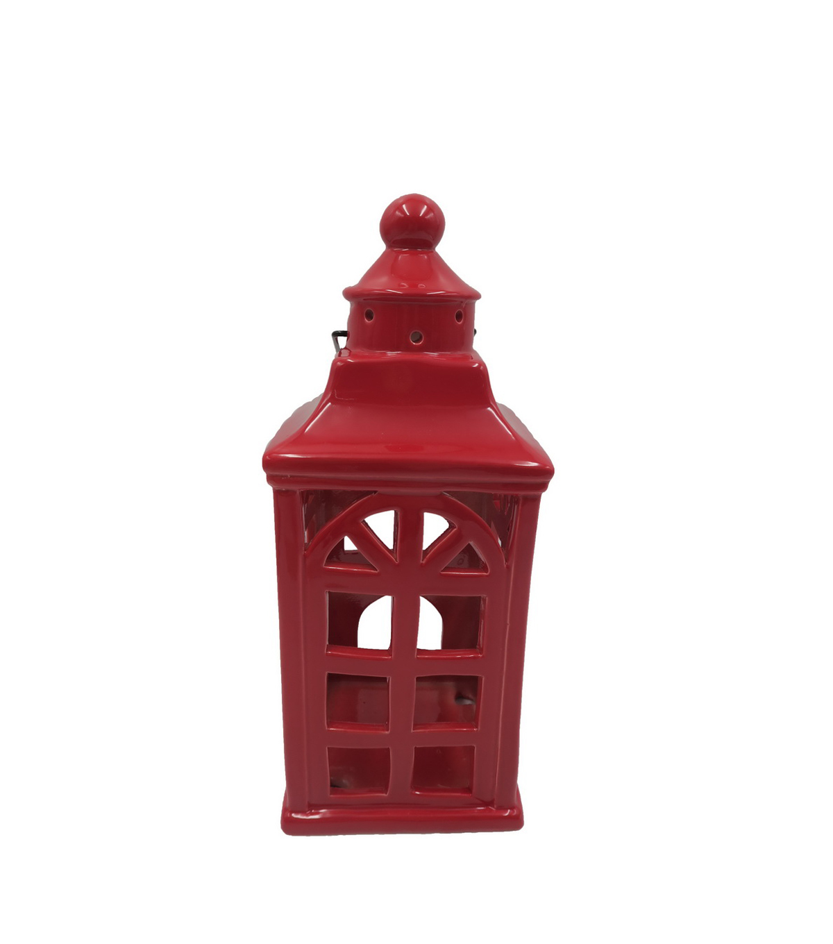 Maker\u0027s Holiday Christmas Large Ceramic Lantern-Red