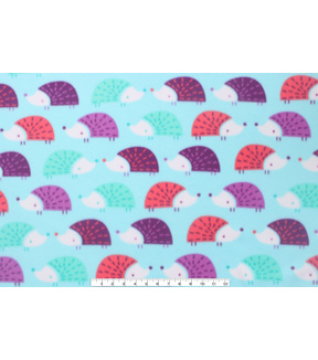 Blizzard Fleece Fabric 59\u0022-Multi Color Hedgehogs