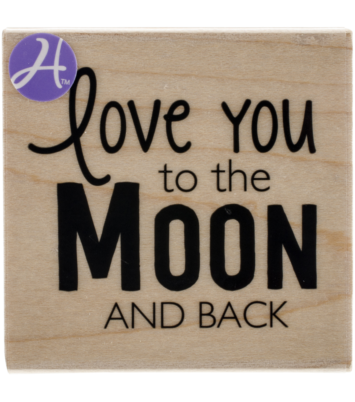 Hampton Art To The Moon & Back Mounted Rubber Stamp