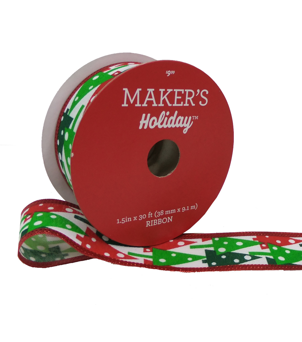Maker's Holiday Ribbon 1.5''x30'-Red & Green Geometric Trees on White