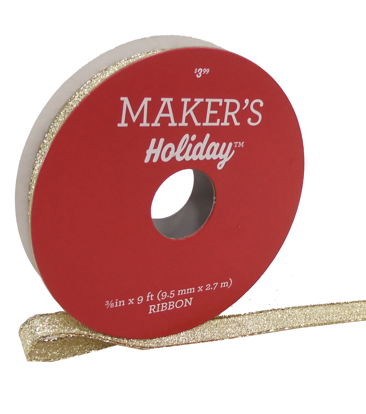Maker\u0027s Holiday Christmas Lame Ribbon 3/8\u0027\u0027x9\u0027-Gold