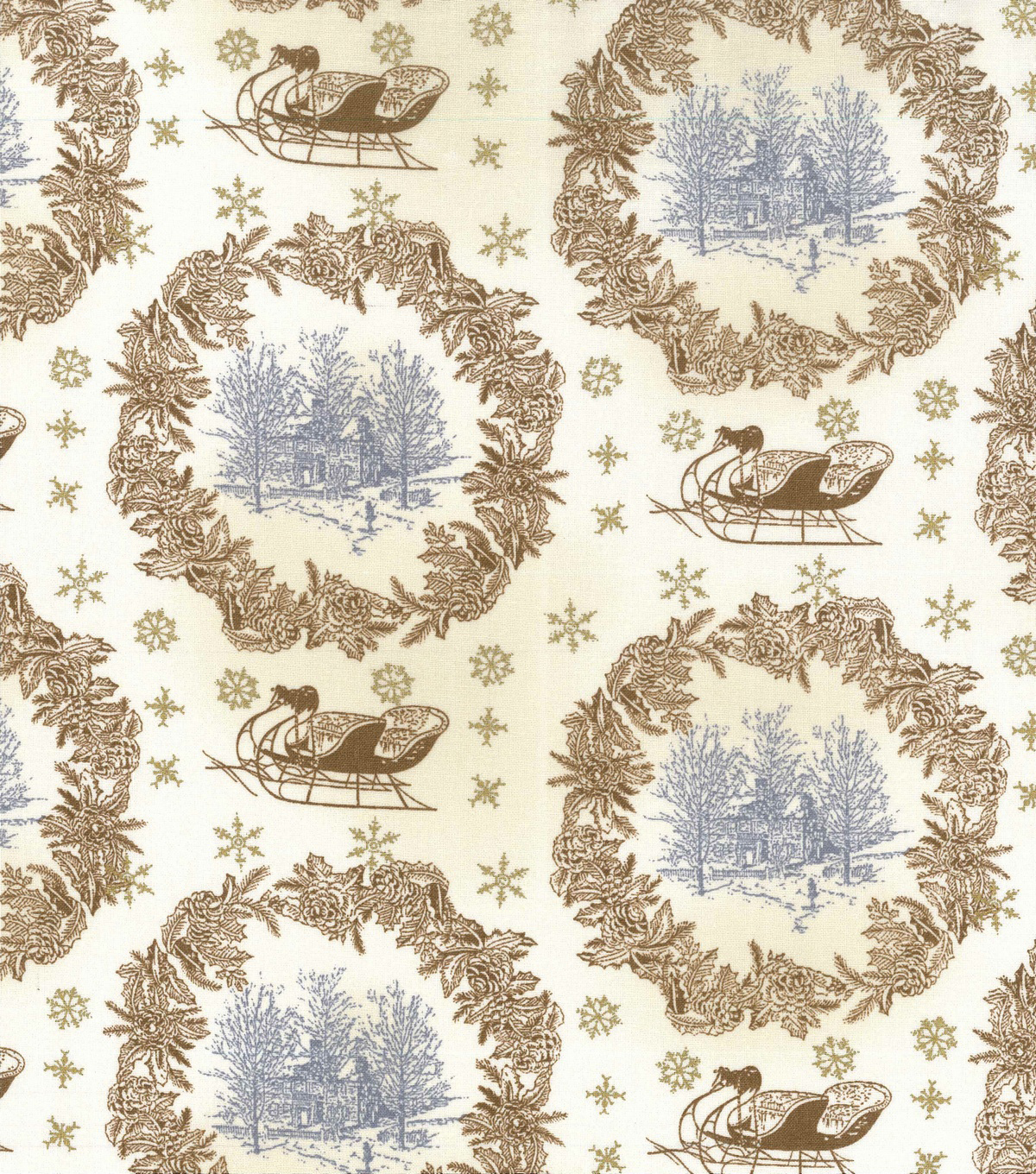 "Christmas Cotton Fabric 43""-Gold Metallic Sleigh Ride"