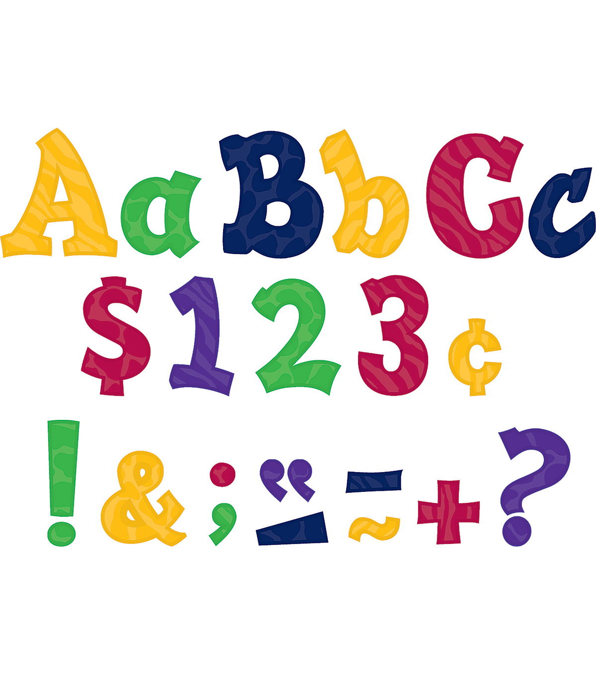 "Multicolor Sassy Animal 3"" Letters"