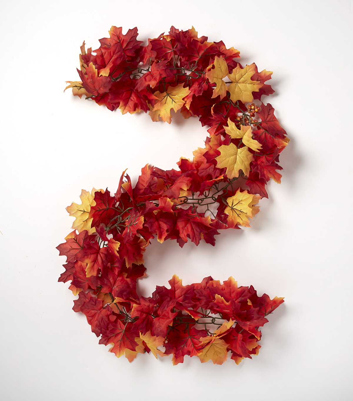 Blooming Autumn 66\u0027\u0027 Maple Leaf & Berry Chain Garland-Red & Yellow