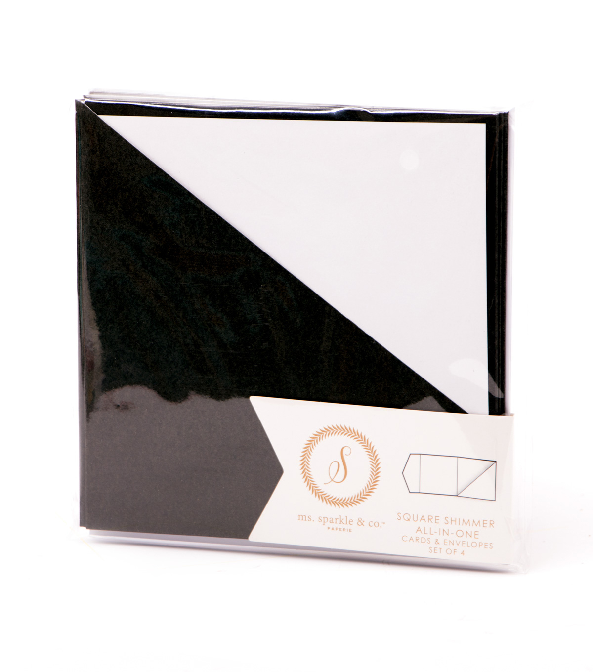 Ms. Sparkle & Co. All In One Shimmer Square Cards & Envelopes-Black