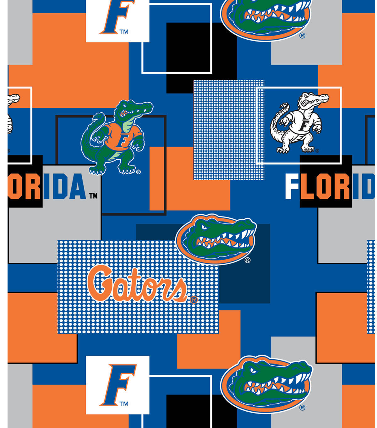 University of Florida Gators Cotton Fabric 43''-Modern Block