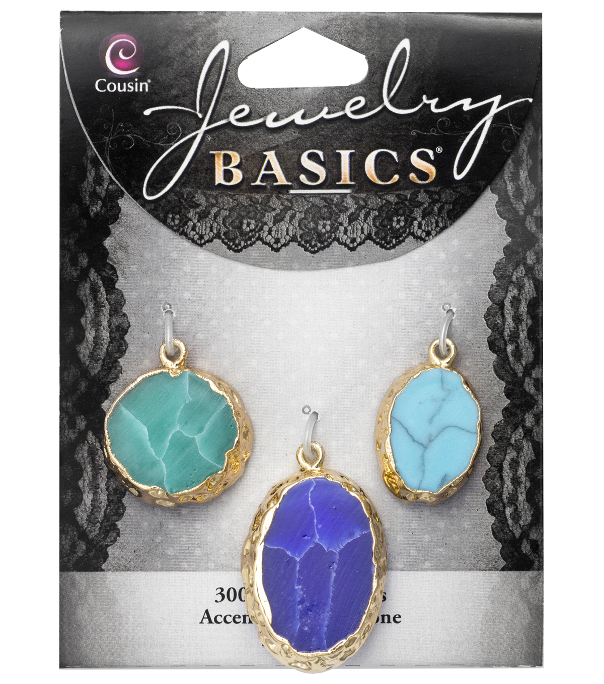 Cousin® Jewelry Basics 3 Pack Gold Trim Stones-Blue,Green,Turquoise