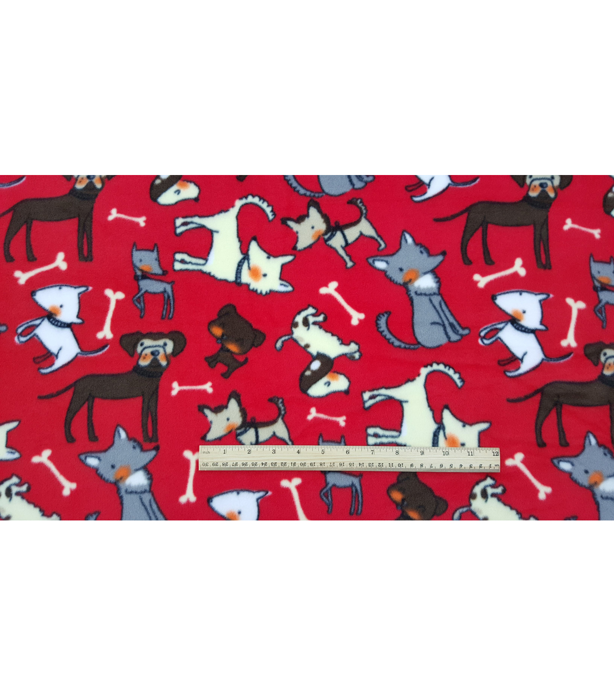 Anti-Pill Fleece Fabric 59\u0022-Sketched Pups On Red