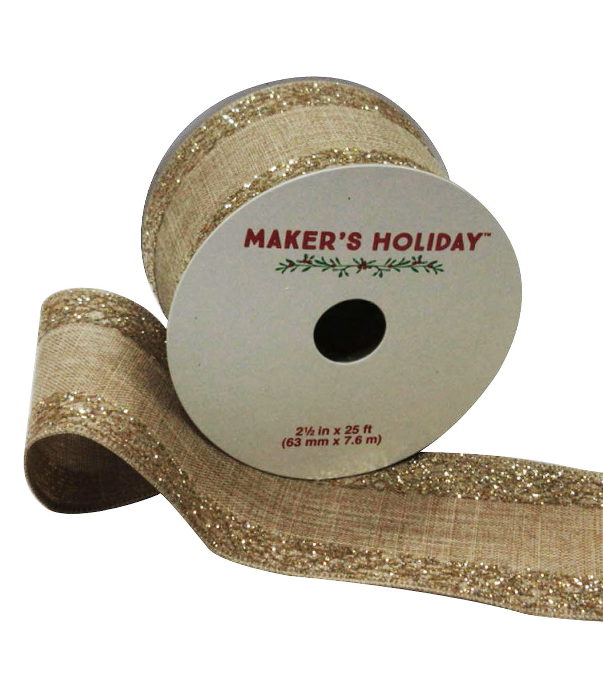 Maker's Holiday Burlap Ribbon With Glitter Edge 2.5''x25'
