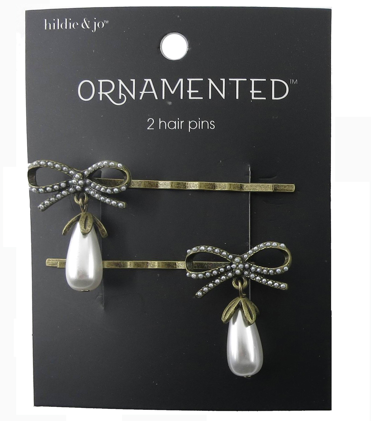 hildie & jo™ Ornamented Bow Antique Gold Hair Pins-Pearl Dangle