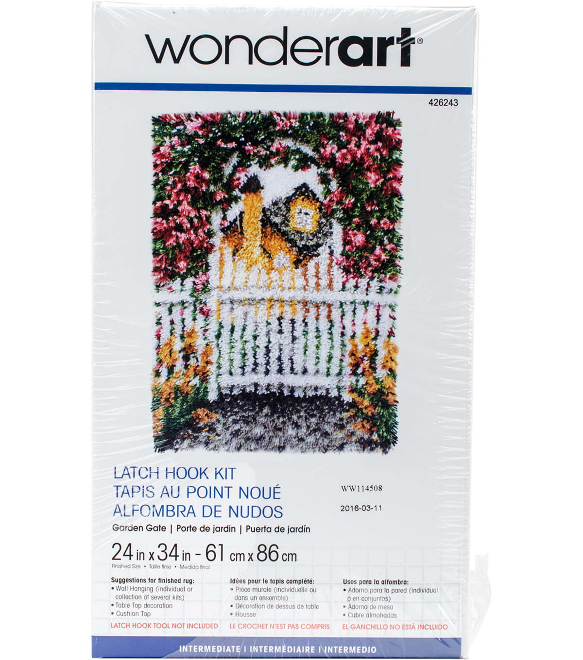 Wonderart Latch Hook Kit 24\u0022X34\u0022-Garden Gate