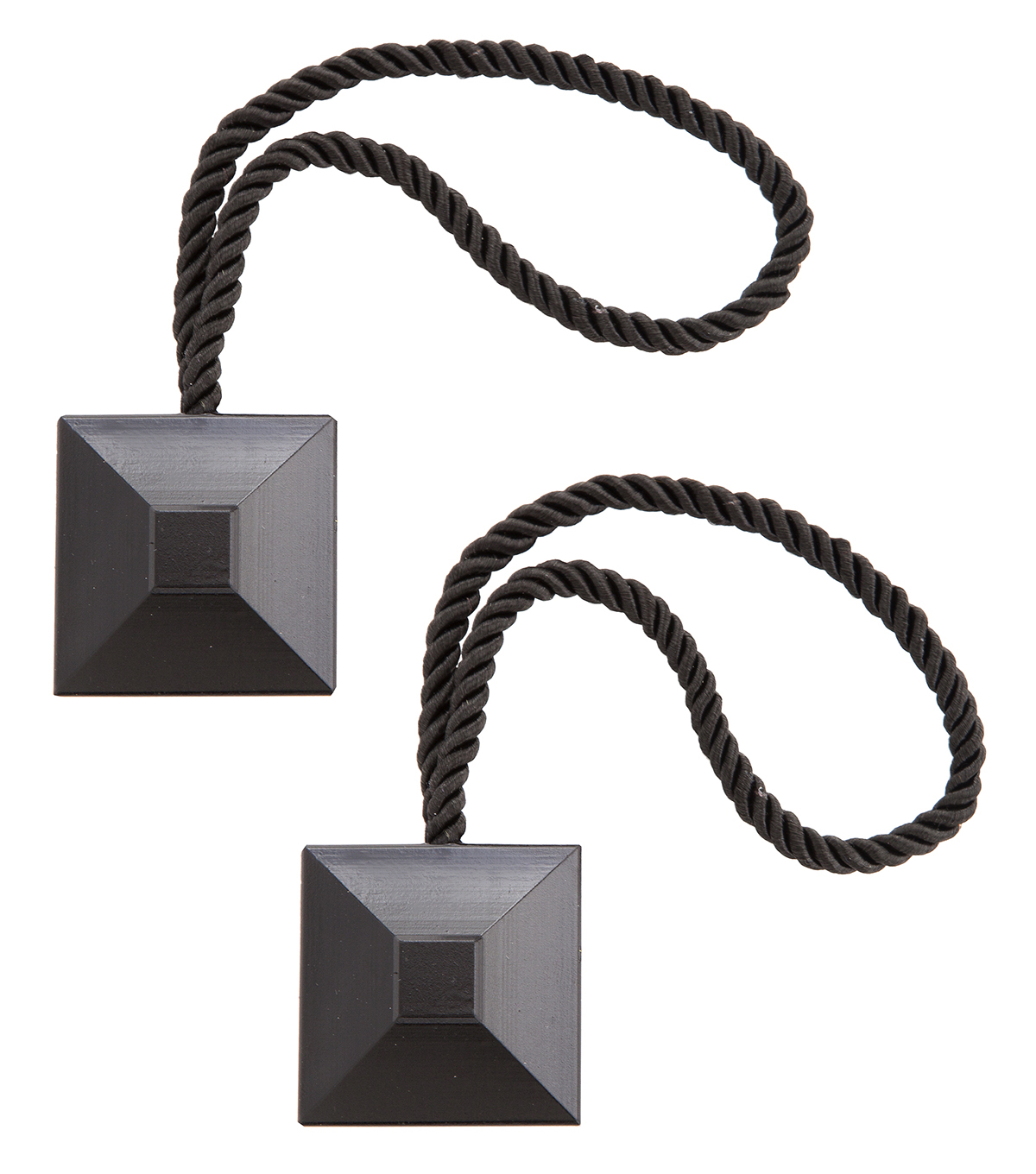 Kenney Square Magnetic Curtain Holdback Pair-Black