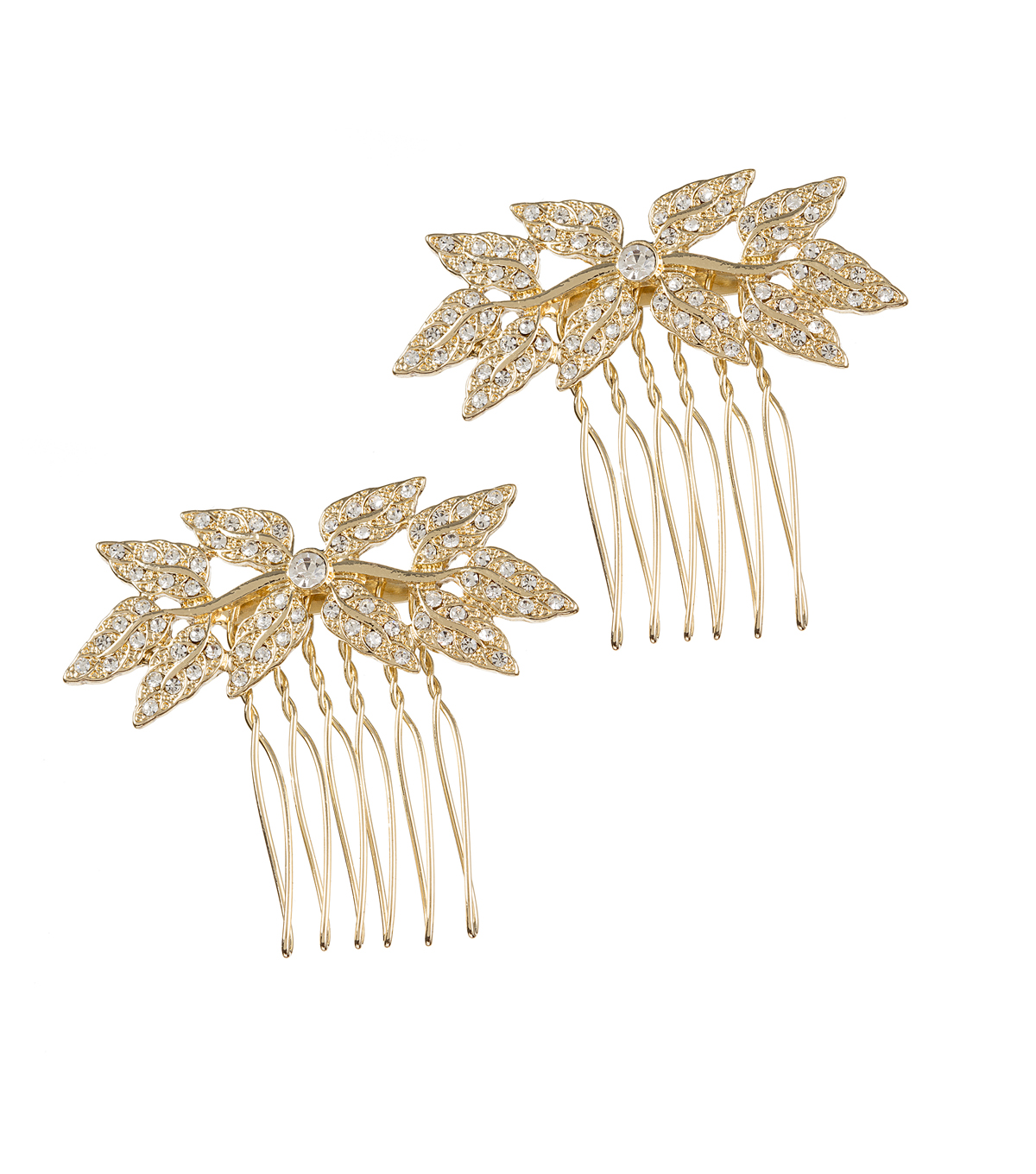David Tutera Pack of 2 Leaf Rhinestone Combs-Gold