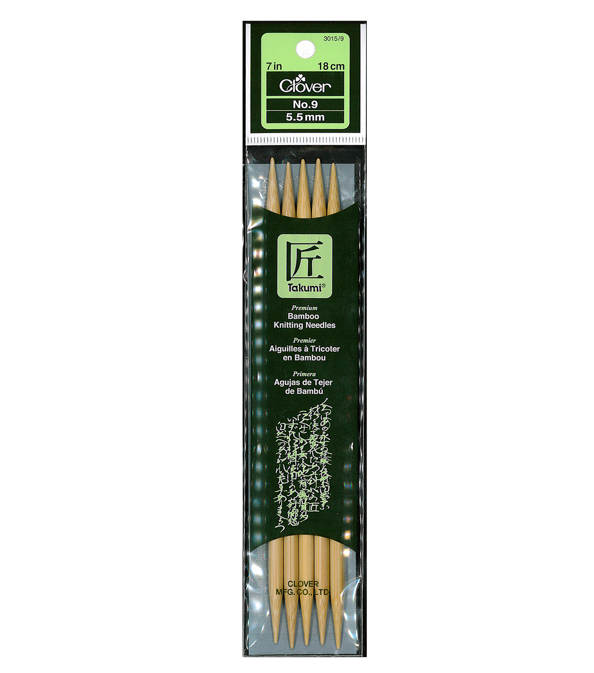 Clover Bamboo Double Point Knitting Needles 7\u0022-Size 9