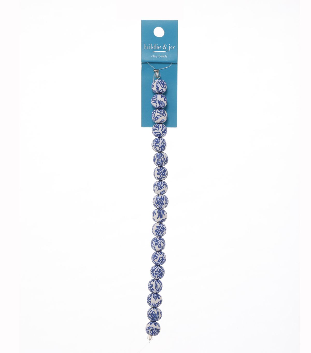 7\u0022 Strand 10mm Round White and Blue Floral Fimo Beads