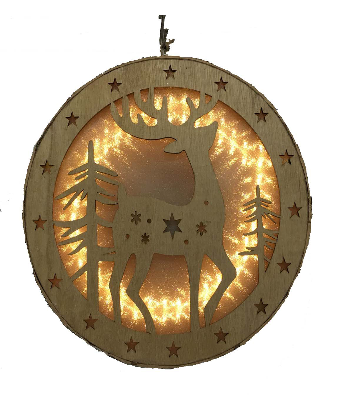 Maker\u0027s Holiday Round LED Wood Reindeer Wall Decor