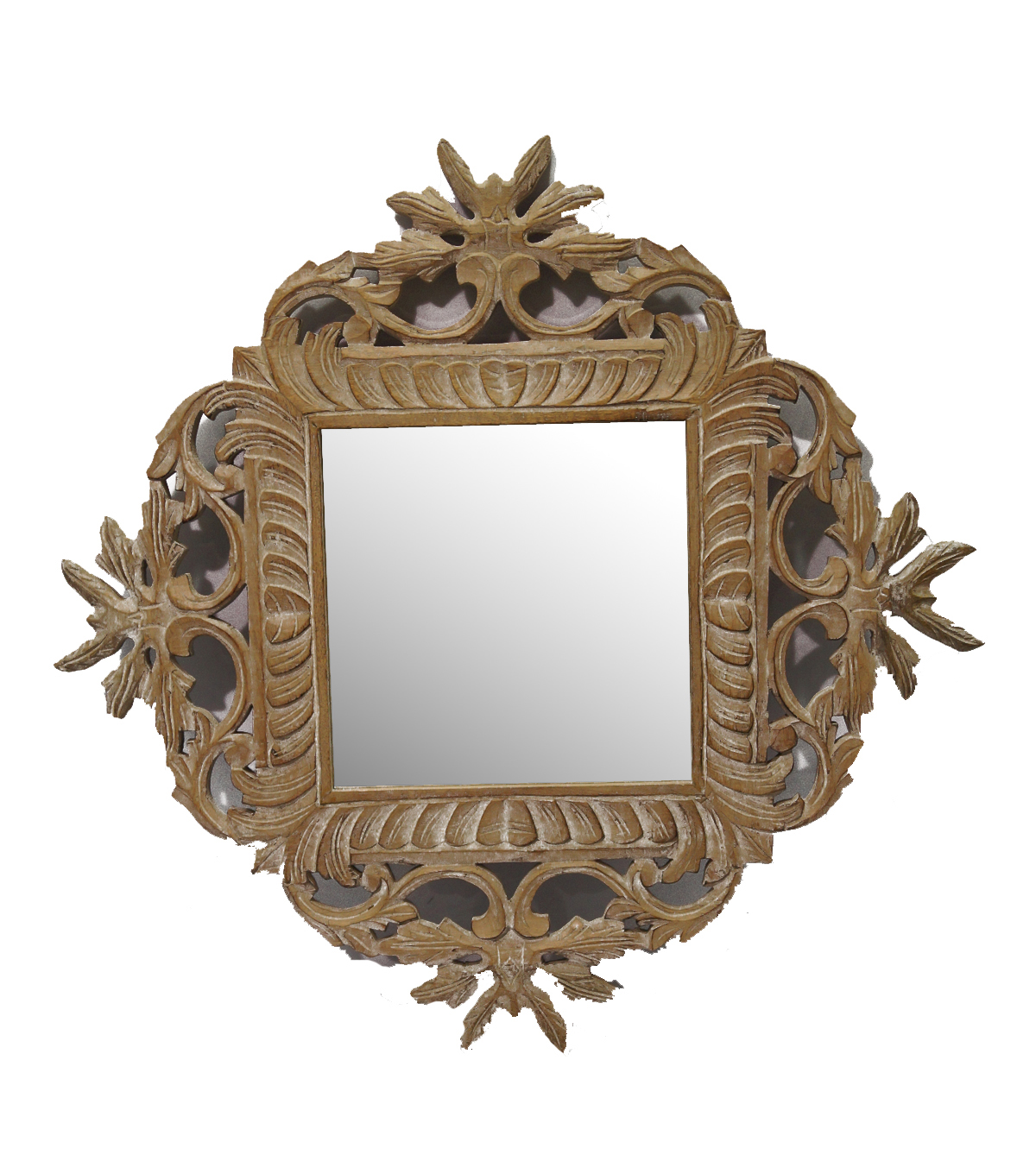 Idea Market Hand-Done Whitewash Wooden Carved Mirror-Natural