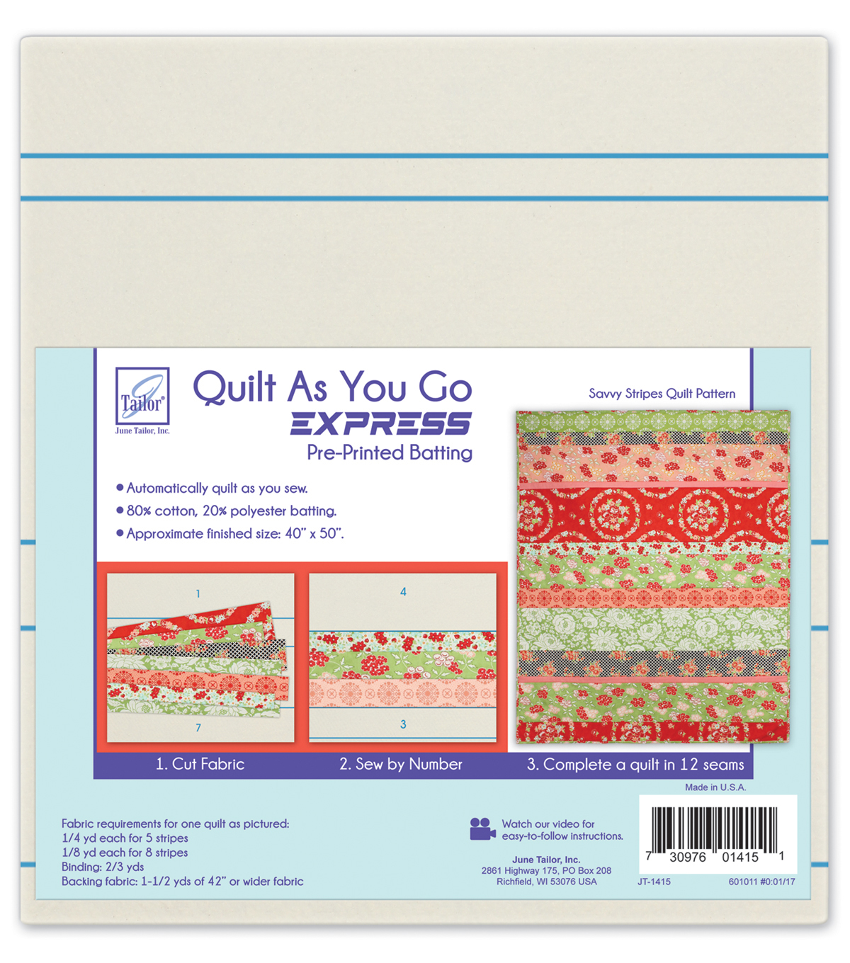 Quilt As You Go Express-Savvy Stripes