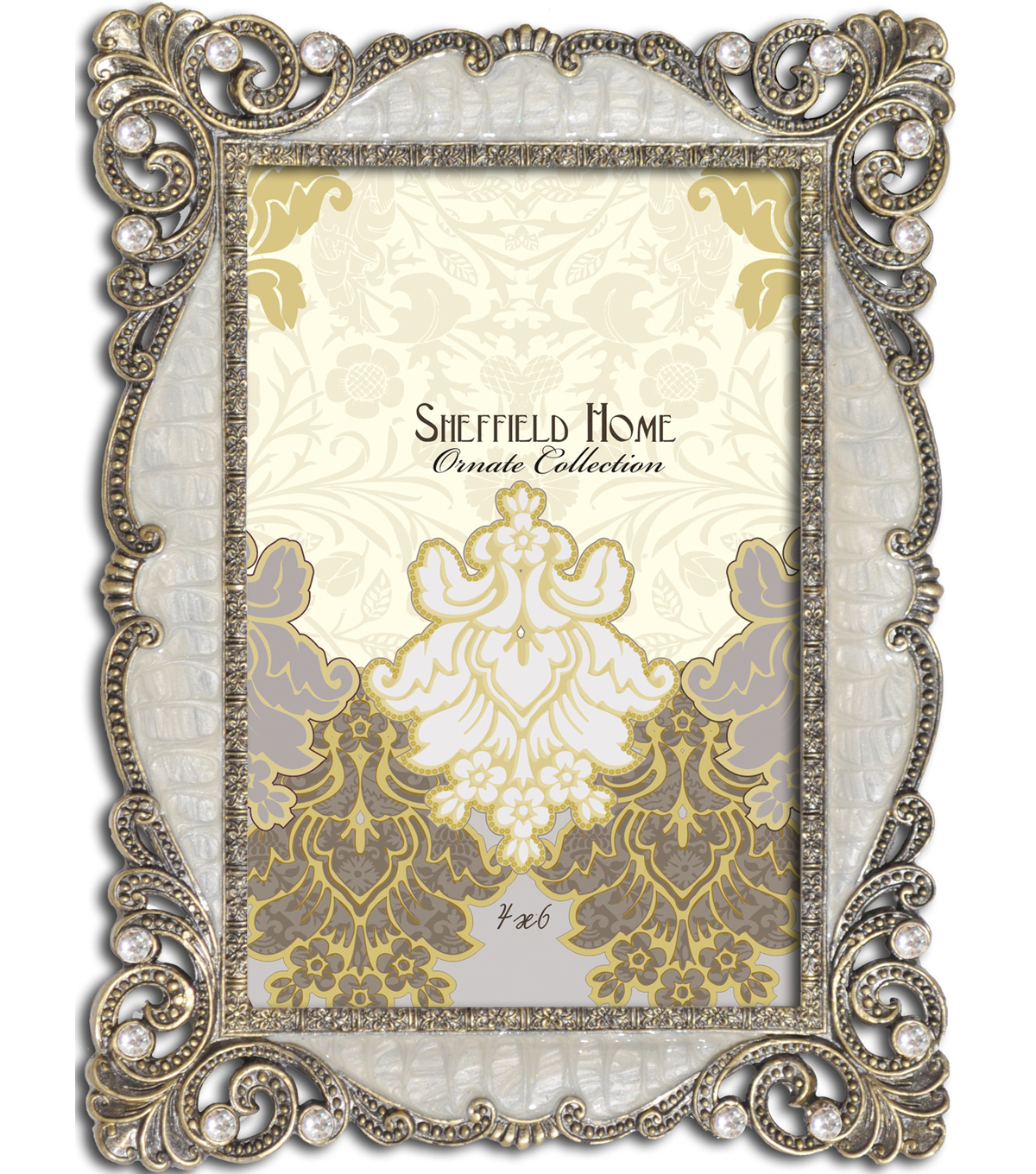 Sheffield Home Jeweled Frame 4x6-Ivory