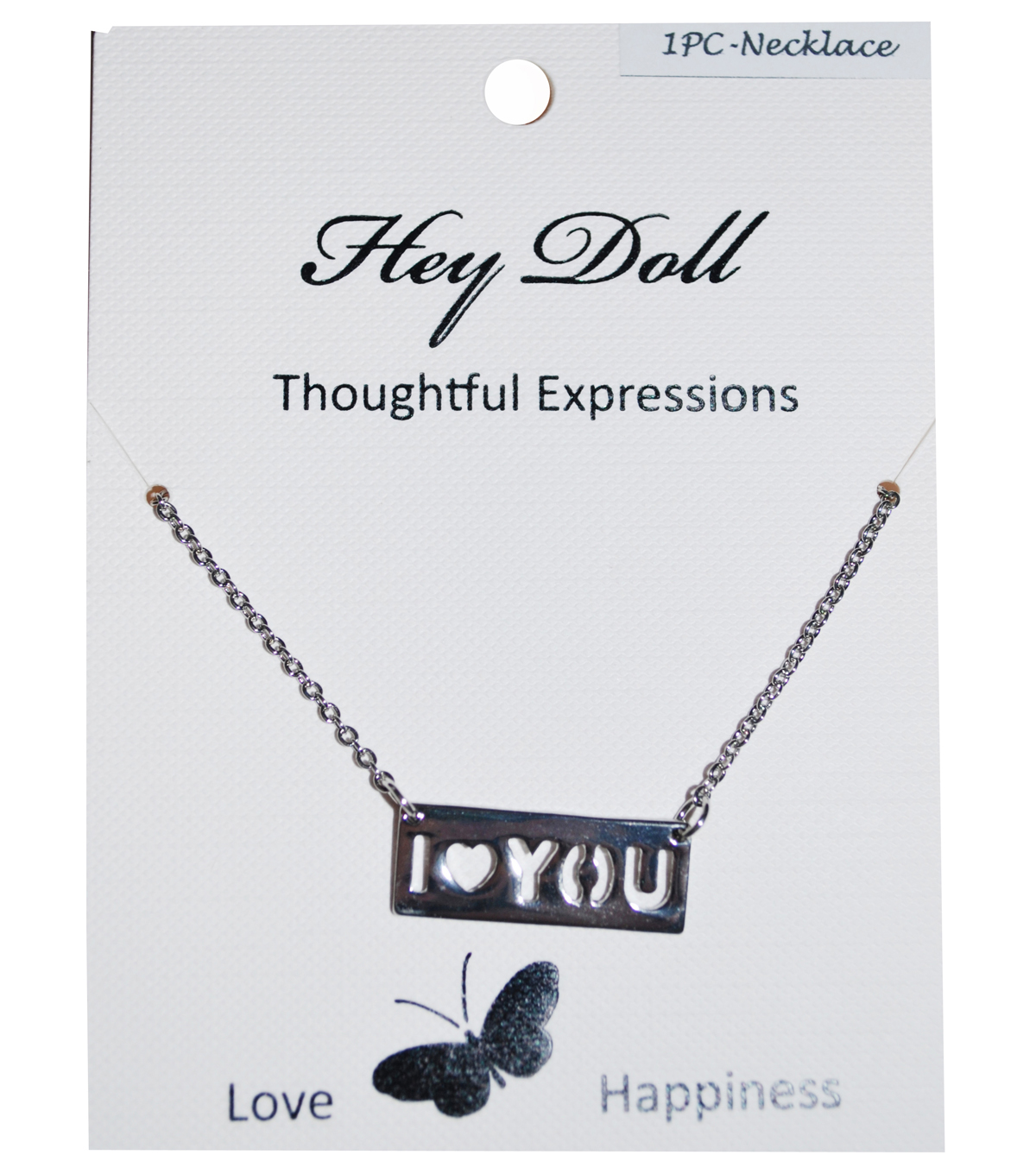 Hey Doll Silver I Heart You Necklace