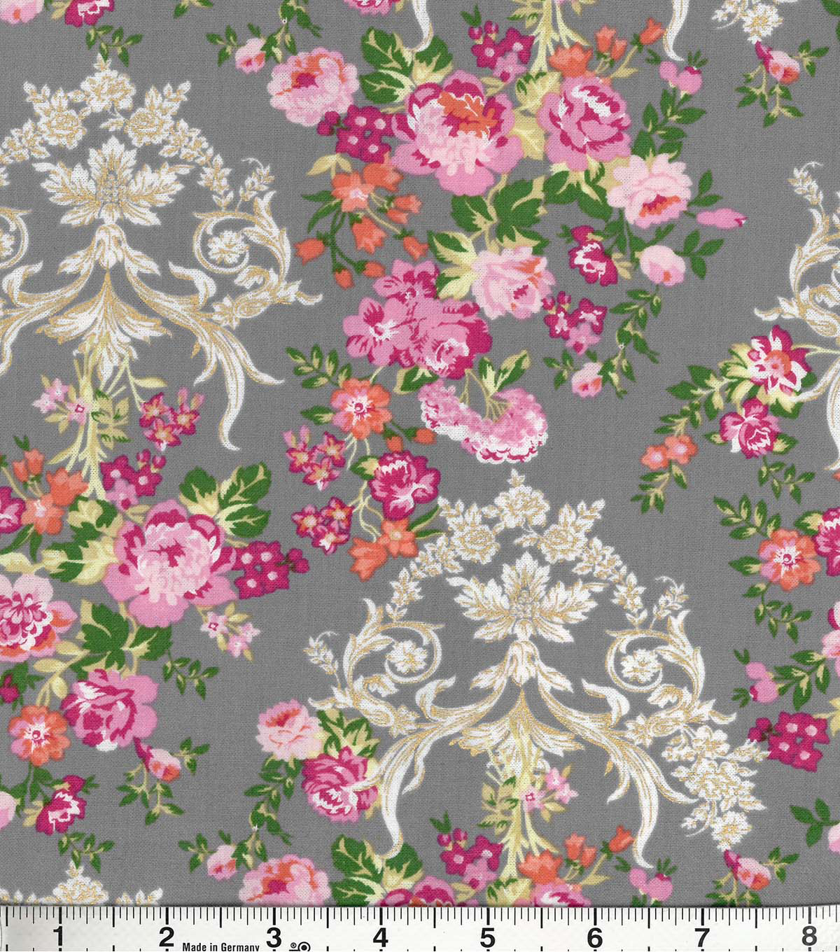Buttercream™ Olivia Collection Cotton Fabric-Floral Damask Metallic