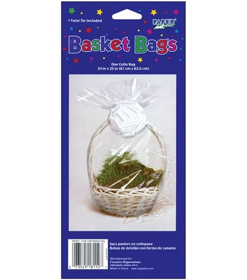 Cellophane Basket Bag 24\u0022X25\u0022 1/Pkg-Clear