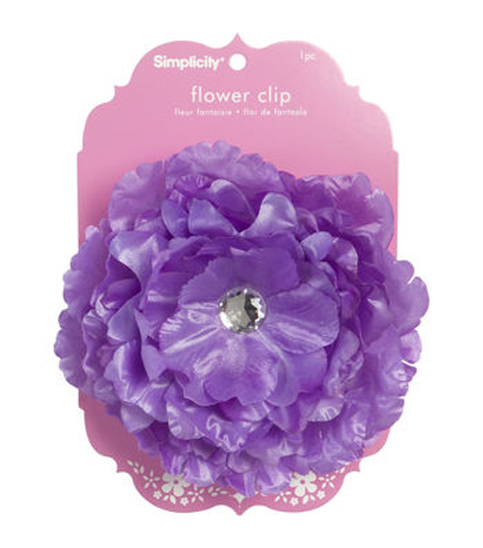 Large Flower with Jewel Accessory Clip