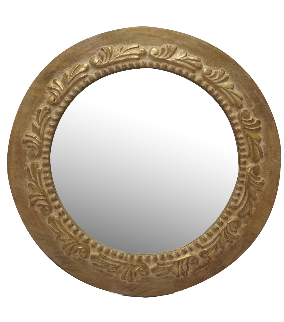 Idea Market Hand-Done Round Wooden Carved Mirror