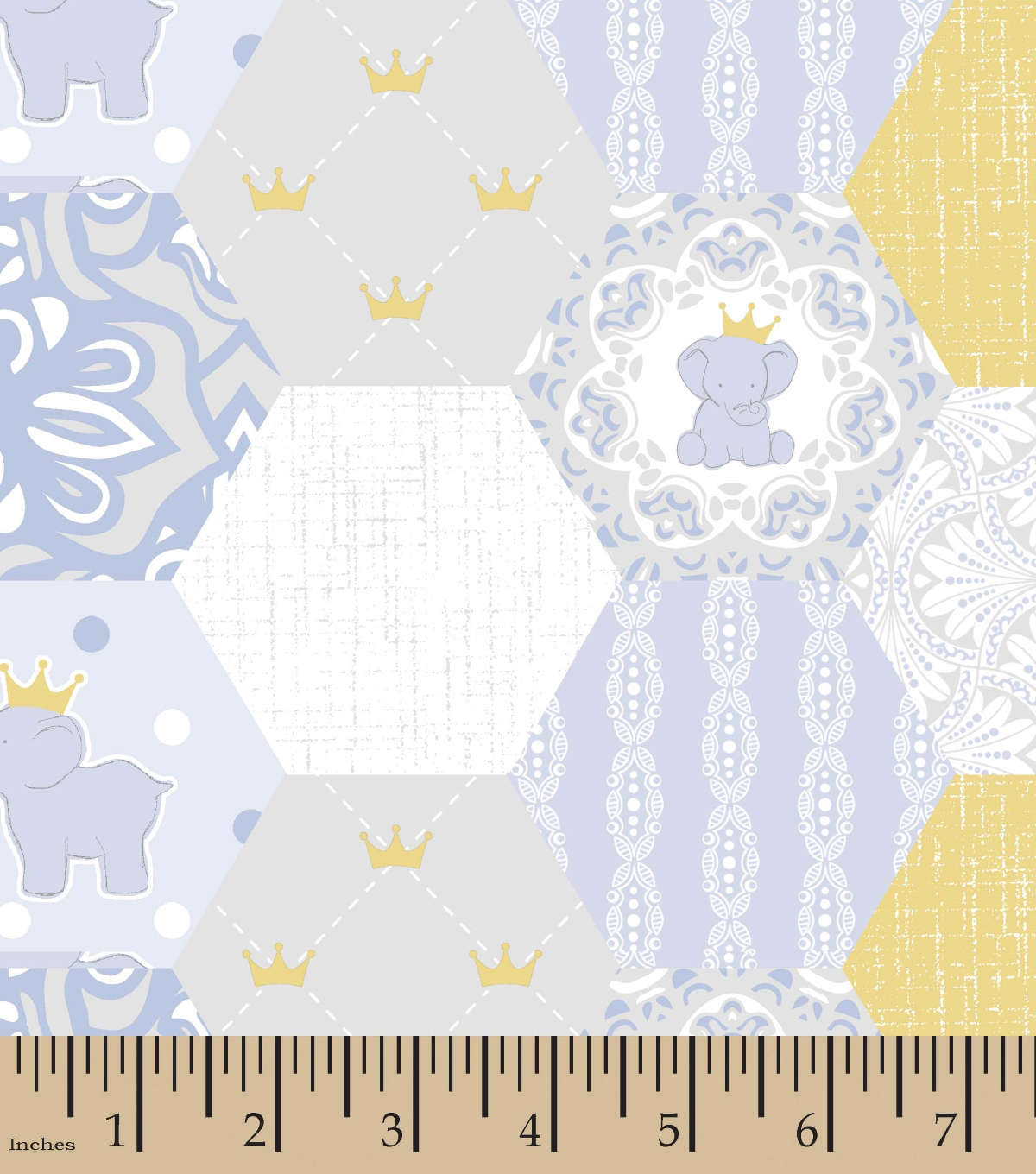 Nursery Royal Cotton Fabric 43\u0027\u0027-Elephant Patchwork