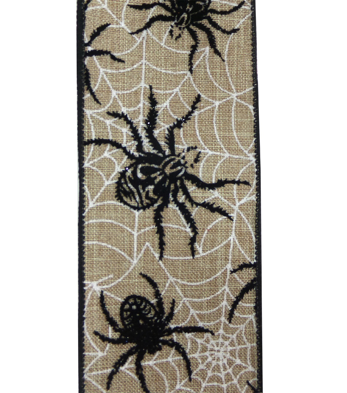 Maker\u0027s Halloween Ribbon 2.5\u0027\u0027x12\u0027-Black Spider on Natural