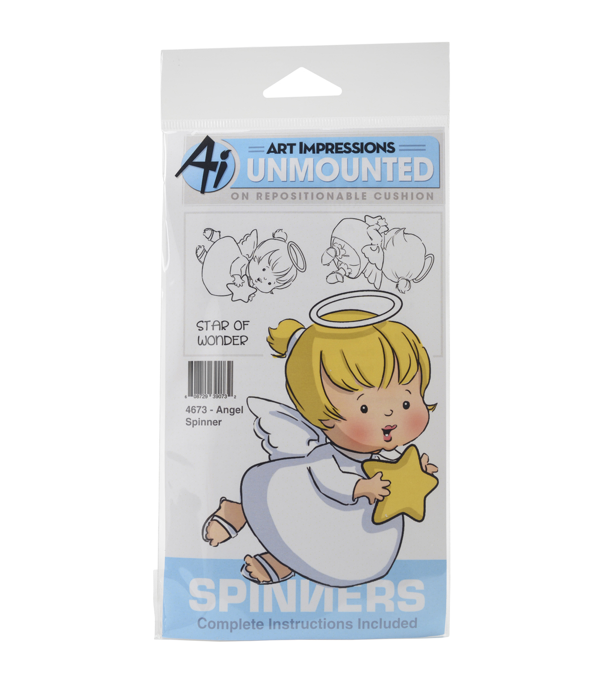 Art Impressions Spinners Unmounted Cling Rubber Stamp-Angel