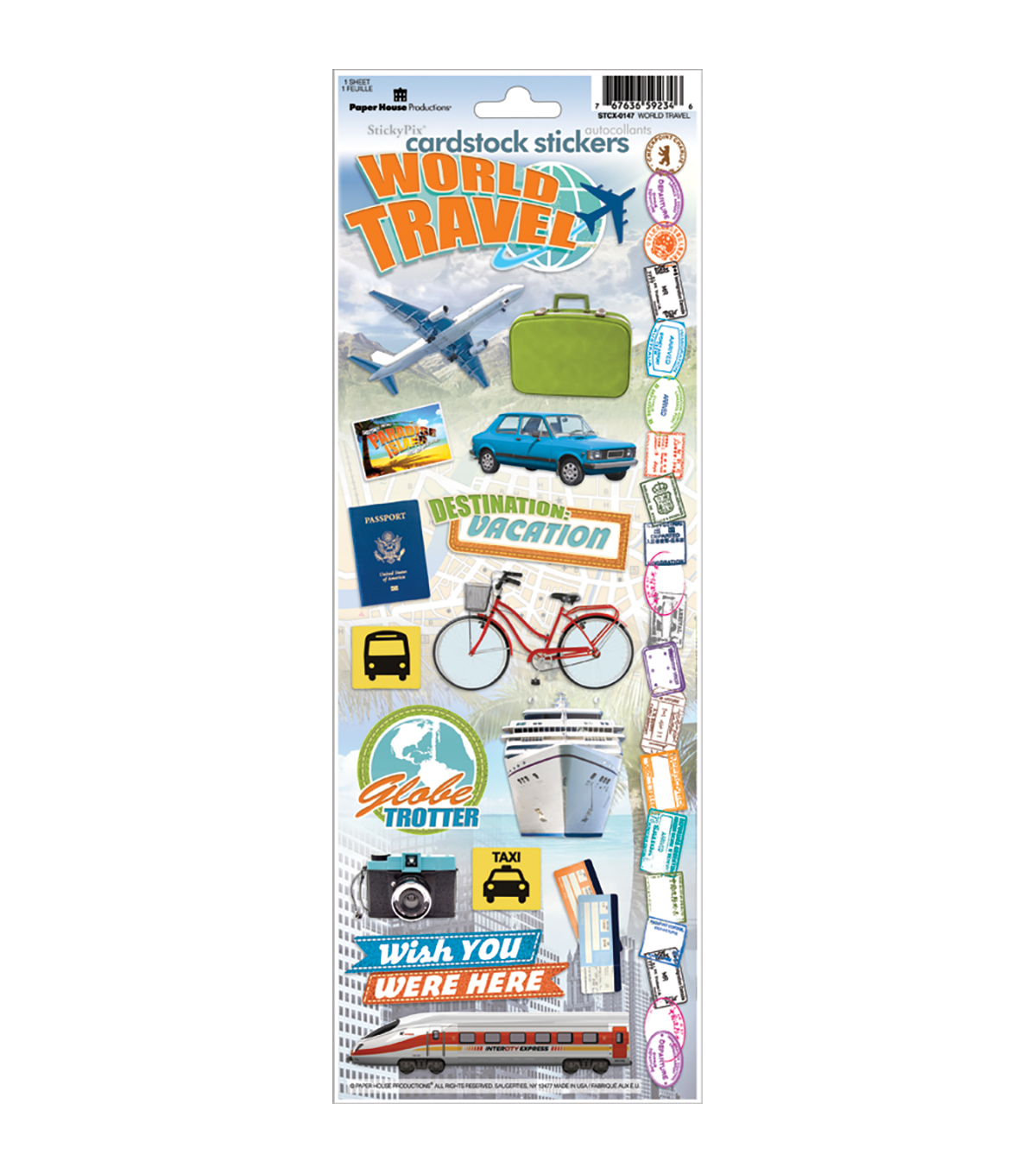 Paper House World Travel Cardstock Stickers