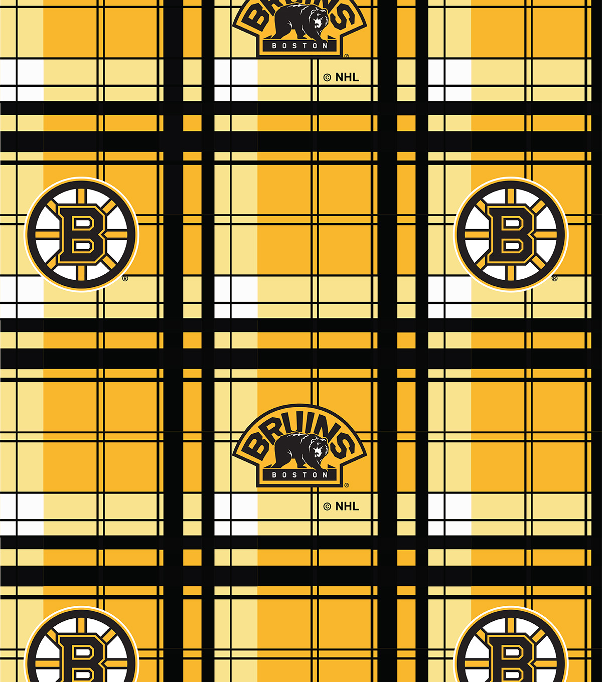 "Boston Bruins Fleece Fabric 60""-Plaid"
