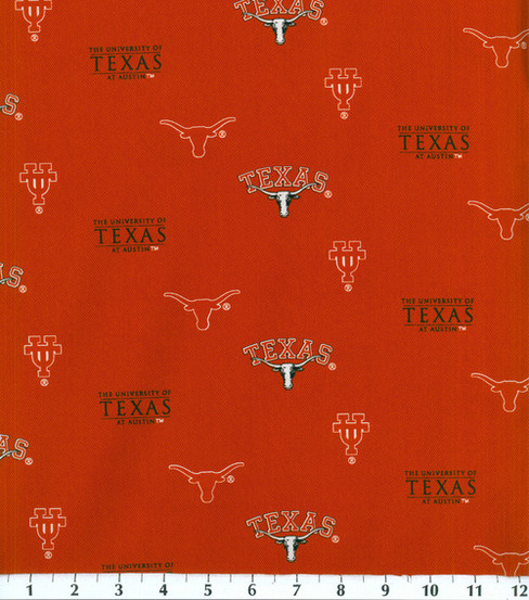 "University of Texas Longhorns Cotton Fabric 43""-Herringbone"