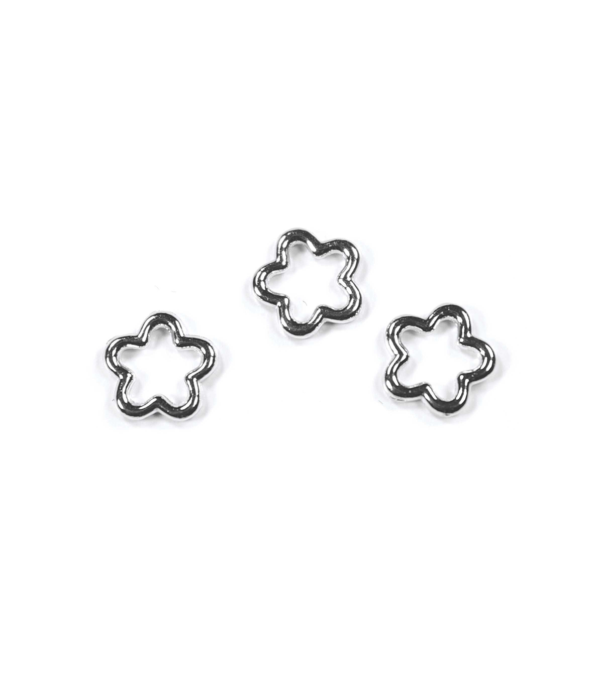 Blue Moon Findings Connector Metal Flower 10mm Silver